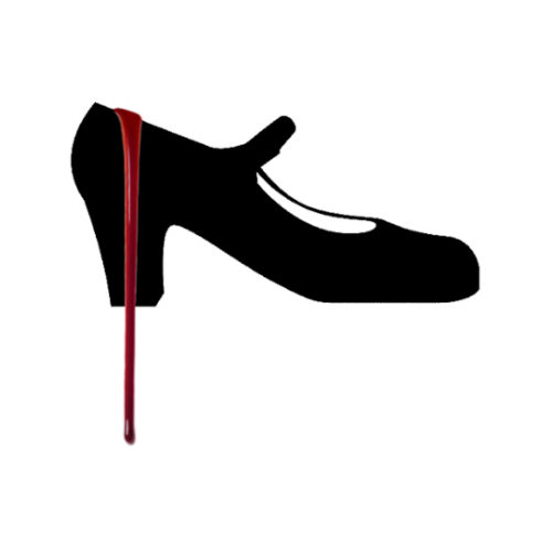 Black flamenco shoe with blood running down the heel.