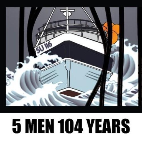 Art decco style poster of a modern ship ccrashing towards the viewer through some prison bars with the title 5 men 104 years
