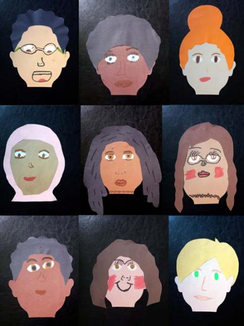 Grid image of collages of people with varying skin tones, facial features, hairstyles and head dress