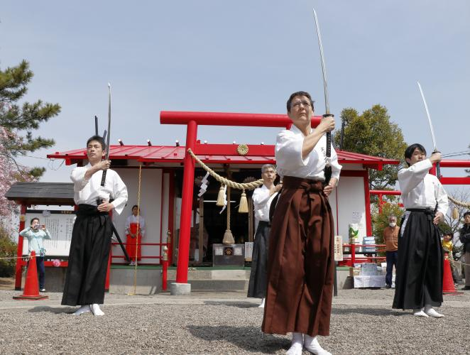 Kenbu Tenshinryu Performance, Hakuryu Shrine, Japan. April 2019