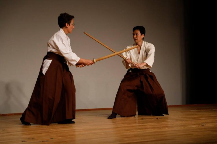 Practice with a partner during the Annual Kenbu Tenshinryu Performance in Tokyo, Japan. 23 September 2017.