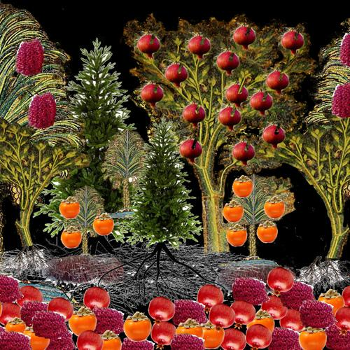 A fantasy fruiting forest including snowy pines and a fruiting pomegranate, with piles of red and orange  fruits on the forest floor