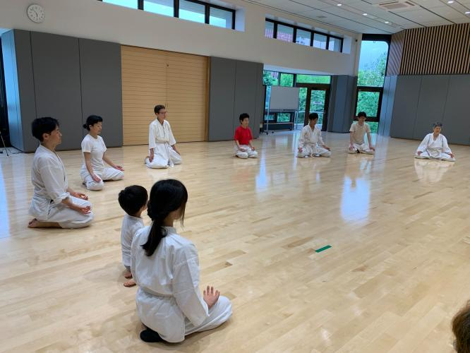 This is  the end of my last Tenshintaido class I taught in Japan, in June 2019, with a short seating meditation.